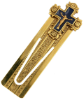 Hand Enameled Navy & Gold Hues Crucifix Bookmark