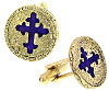 Gold & Blue Enamel Cross Cuff Links