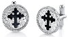Silver & Black Enamel Cross Cuff Links