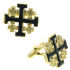 Gold-Tone and Black Enamel Jerusalem Cross Cuff Links