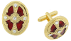 Gold-Tone and Red Enamel Oval Cuff Links