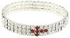 Silver-Tone Red Crystal Cross Stretch Bracelet