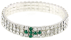 Silver-Tone Emerald Crystal Cross Stretch Bracelet