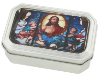 Silver-Tone Multi-Color Stained Glass Decal Tin Rosary Box