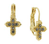 14K Gold Dipped Hematite  Petite Cross Earrings
