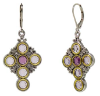 Pewter Light and Dark Purple Crystal Cross Earrings