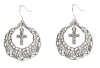 Pewter Hoop Crystal Cross Drop Earrings