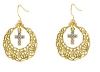 14K Dipped Hoop Crystal Cross Drop Earrings