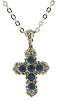 "Silver-Tone Blue Cross Necklace 16""Adj."