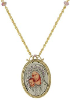 14K Gold Dipped-Silver Tone Lt. Purple Crystal Mary & Child Pendant Necklace