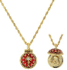 "Gold-Tone Crystal with Red Enamel Pendant Necklace 16"" Adj."
