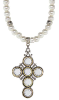 Crystal Pewter Pearl Cross Necklace