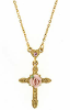 14K Gold Dipped Crystal Pink Porcelain Rose Cross Necklace