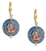 14K Gold Dipped and Blue Enamel Earrings with Mary and Child