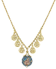 14K Gold Dipped & Blue Enamel Mother and Child Pendant Necklace