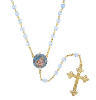 14K Gold Dipped Blue Beaded Rosary with Mary and Child