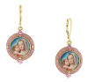 14K Gold Dipped and Pink Crystal Enamel Earrings with Mary and Child