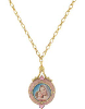 14K Gold Dipped Pink Enamel Mary and Child Image Locket Necklace