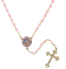 14K Gold Dipped Pink Beaded Rosary with Mary and Child
