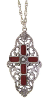 Pewter Carnelian Stone Cross Pendant Necklace