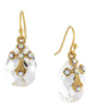 14K Gold Dipped Crystal AB Briolette Cross Drop Earrings