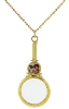 14K Gold Dipped Cherub Magnifying Glass Pendant Necklace