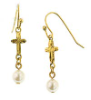 Gold Tone Cross and Simulated Pearl Drop Earrings