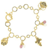 14K Gold-dipped Faith Love and Peace Charm Bracelet