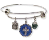 Silver Tone Blue Enamel Crystal Cross Beaded Slide Charm Bracelet