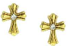 Gold-tone Crystal Cross Stud Earrings