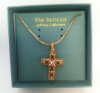 Gold and Crystals Cross Vatican Necklace