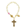 Genuine Mother-of-Pearl & Rose Crystal Rosary Bracelet