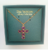 Fuchsia Swarovski Crystal Cross Necklace
