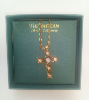 Gold Tone Filigree Crystal Center Cross Pendant Necklace