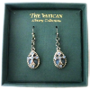Silver-plated Crystal Cross Vatican Library Earrings