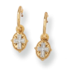 Gold-Tone Etched Cross Drop Earrings