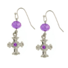 Amethyst Crystals Silver Cross Earrings