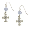 Gray Crystals Silver Cross Earrings
