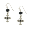 Onyx Crystals Silver Cross Earrings