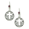 Round Silver Cross Filigree Earrings