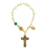 Genuine Mother-of-Pearl & Emerald Crystal Rosary Bracelet