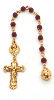Immaculate Heart of Mary Gold Tone Siam Red Hue Hand Rosary